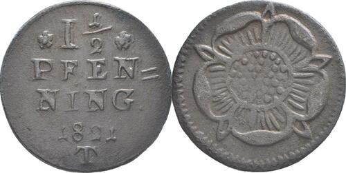 Lieferumfang:Deutschland : 1 1/2 Pfennig   1821 ss/vz.