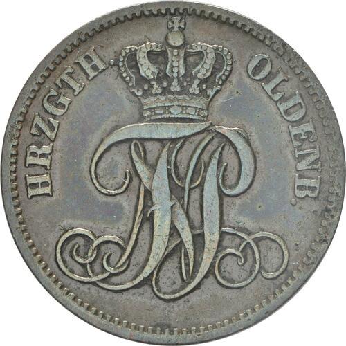 Rückseite:Deutschland : 3 Schwaren  patina 1864 vz.