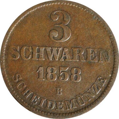 Vorderseite:Deutschland : 3 Schwaren   1858 ss.