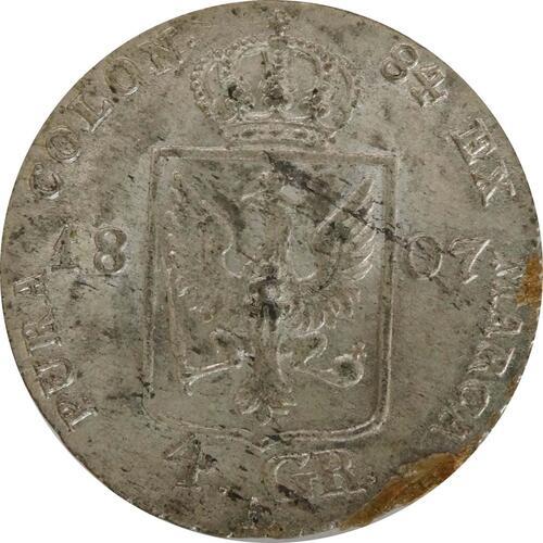 Rückseite:Deutschland : 4 Groschen  Schrtlf. 1807 vz.