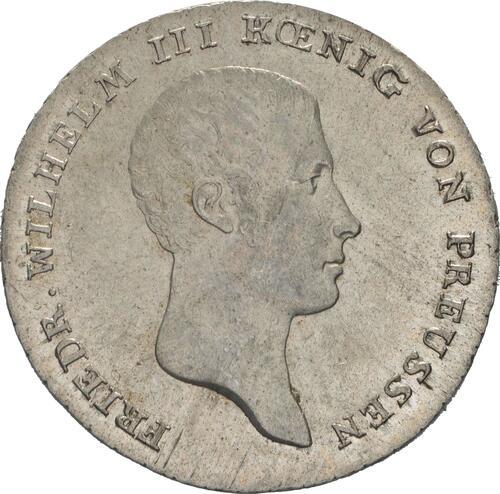 Vorderseite:Deutschland : 1/6 Taler  -seltene Erhaltung- 1814 vz/Stgl.