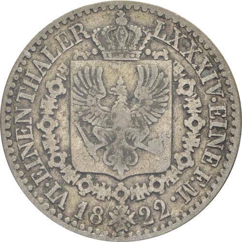 Rückseite:Deutschland : 1/6 Taler   1822 s/ss.