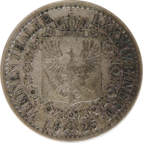 Rückseite:Deutschland : 1/6 Taler   1825 ss.