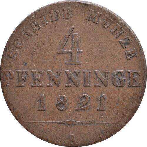 Vorderseite:Deutschland : 4 Pfennig   1821 ss.