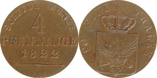 Lieferumfang :Deutschland : 4 Pfennig  -seltene Erhaltung- 1822 vz/Stgl.