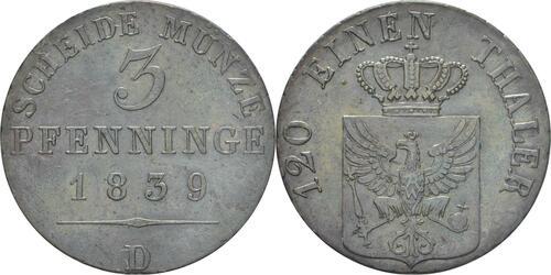 Lieferumfang:Deutschland : 3 Pfennige   1839 vz.