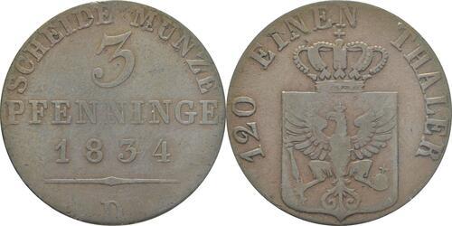 Lieferumfang:Deutschland : 3 Pfennig   1834 f.ss