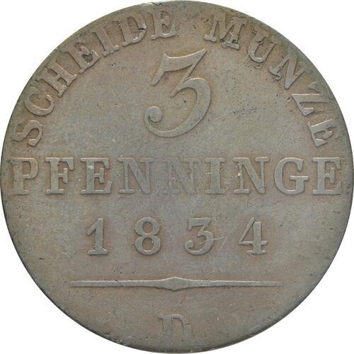 Vorderseite:Deutschland : 3 Pfennig   1834 f.ss