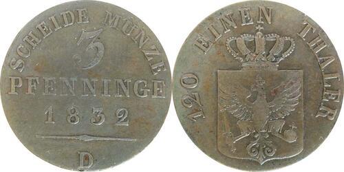 Lieferumfang:Deutschland : 3 Pfennig   1832 ss+
