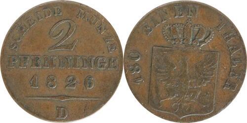 Lieferumfang:Deutschland : 2 Pfennig   1826 vz.