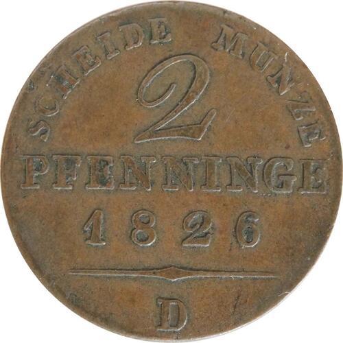 Vorderseite:Deutschland : 2 Pfennig   1826 vz.