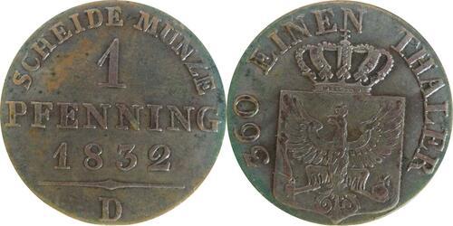 Lieferumfang:Deutschland : 1 Pfennig  patina 1832 vz/Stgl.