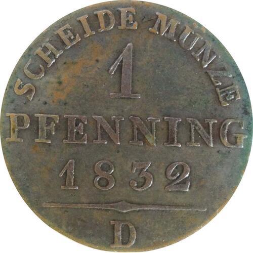 Vorderseite:Deutschland : 1 Pfennig  patina 1832 vz/Stgl.