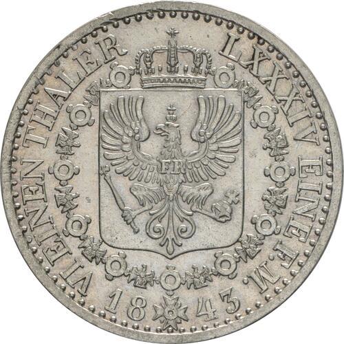 Rückseite:Deutschland : 1/6 Taler   1843 vz/Stgl.