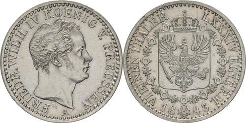 Lieferumfang:Deutschland : 1/6 Taler   1843 vz/Stgl.