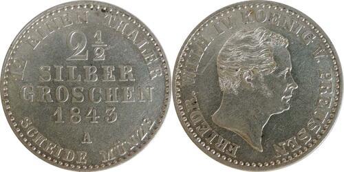 Lieferumfang :Deutschland : 2 1/2 Silbergroschen   1843 vz/Stgl.