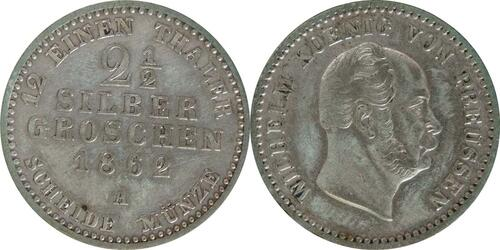 Lieferumfang:Deutschland : 2 1/2 Silbergroschen   1862 ss/vz.