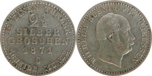 Lieferumfang :Deutschland : 2 1 /2 Silbergroschen   1871 f.vz.