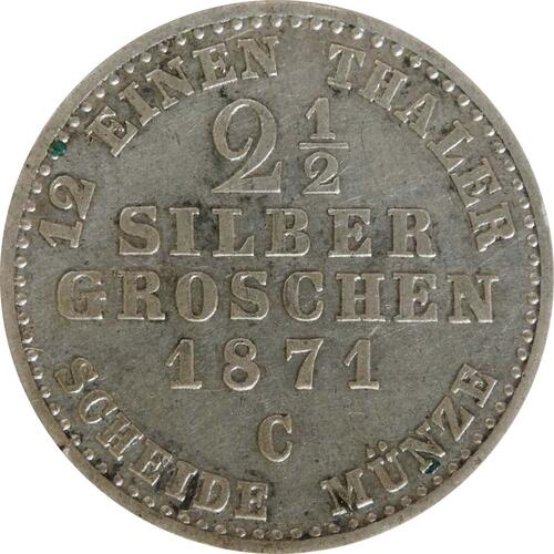 Vorderseite :Deutschland : 2 1 /2 Silbergroschen   1871 f.vz.