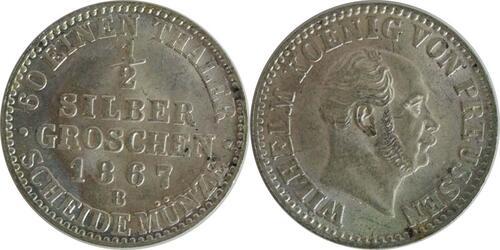 Lieferumfang :Deutschland : 1/2 Silbergroschen   1867 Stgl.