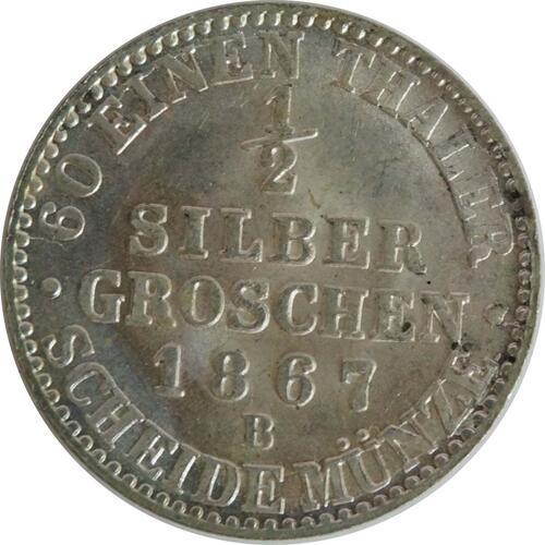 Vorderseite :Deutschland : 1/2 Silbergroschen   1867 Stgl.