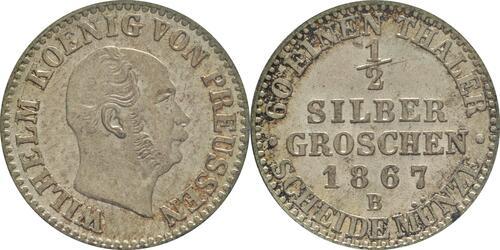 Lieferumfang:Deutschland : 1/2 Silbergroschen   1867 vz/Stgl.