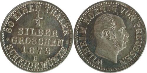 Lieferumfang:Deutschland : 1/2 Silbergroschen  !Erhaltung! 1872 Stgl.