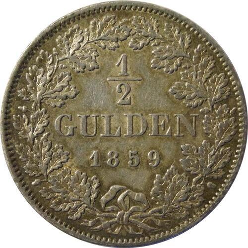 Vorderseite :Deutschland : 1/2 Gulden  patina 1859 vz.
