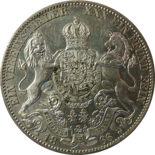 Rückseite:Deutschland : 1 Vereinstaler  patina 1866 vz.