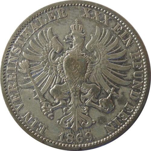 Rückseite:Deutschland : 1 Vereinstaler   1869 s/ss.