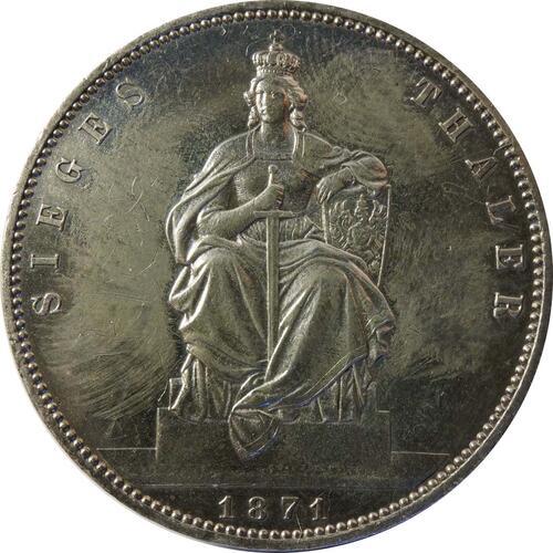 Vorderseite:Deutschland : 1 Siegestaler   1871 ss.