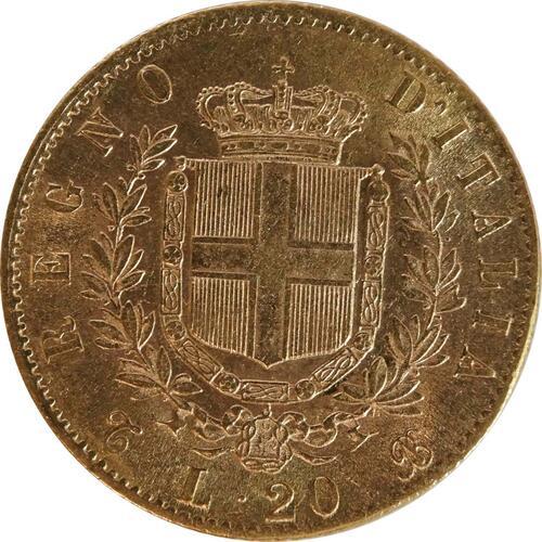 Vorderseite:Italien : 20 Lire  winz. Kratzer 1868 f.vz.