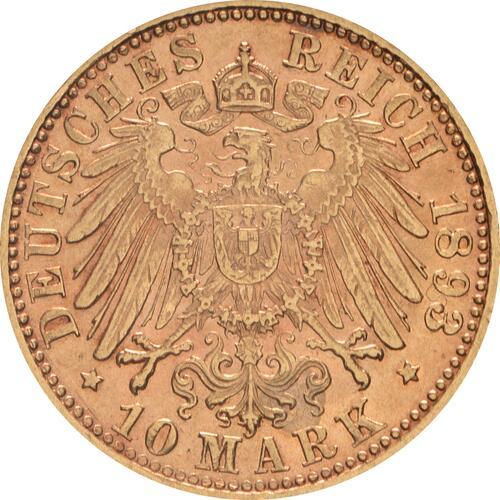 Rückseite :Deutschland : 10 Mark   1893 ss/vz.