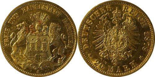 Lieferumfang:Deutschland : 20 Mark   1878 ss+