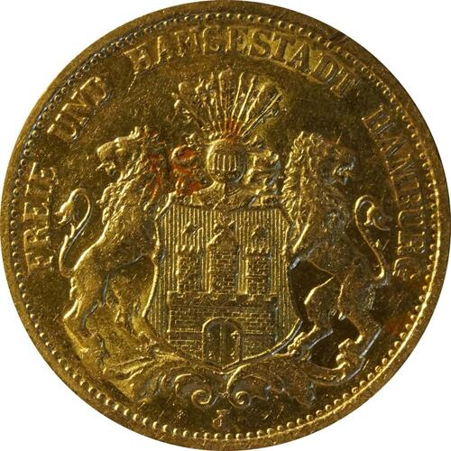 Vorderseite:Deutschland : 20 Mark   1878 ss+