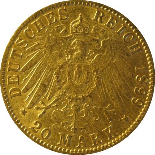 Rückseite:Deutschland : 20 Mark   1899 ss.