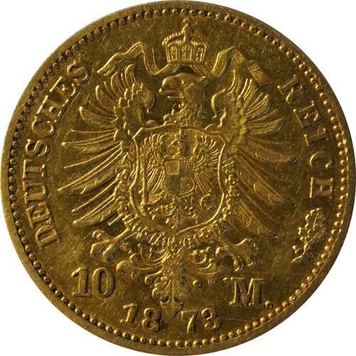 Rückseite:Deutschland : 10 Mark  winz. Rs. 1873 ss.