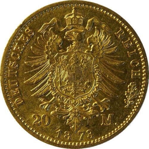 Rückseite:Deutschland : 20 Mark   1873 ss/vz.