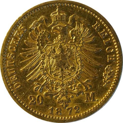 Rückseite :Deutschland : 20 Mark   1872 ss.