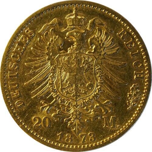 Rückseite:Deutschland : 20 Mark  Rs. 1873 ss.