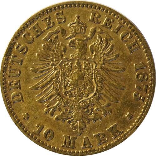 Rückseite:Deutschland : 10 Mark  winz. Kratzer 1875 ss.