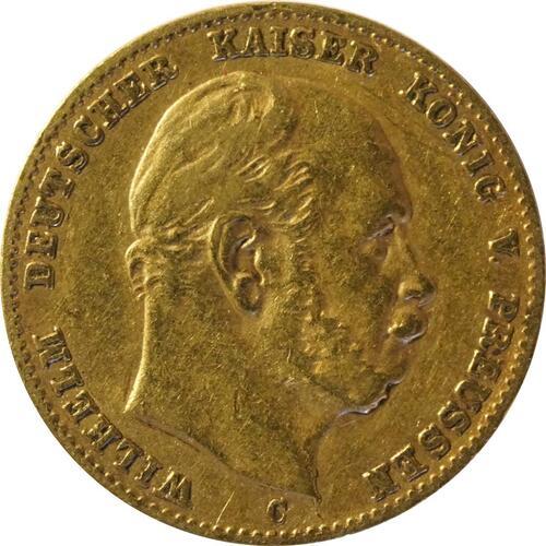 Vorderseite:Deutschland : 10 Mark  winz. Kratzer 1875 ss.