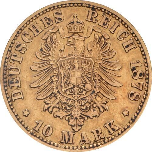 Rückseite:Deutschland : 10 Mark  winz. Kratzer 1878 ss/vz.