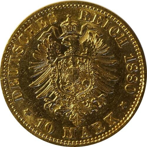 Rückseite:Deutschland : 10 Mark   1880 ss/vz.