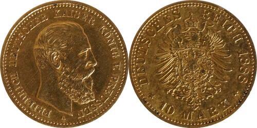 Lieferumfang:Deutschland : 10 Mark Friedrich  1888 ss/vz.