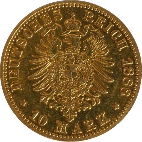 Rückseite:Deutschland : 10 Mark Friedrich  1888 ss.
