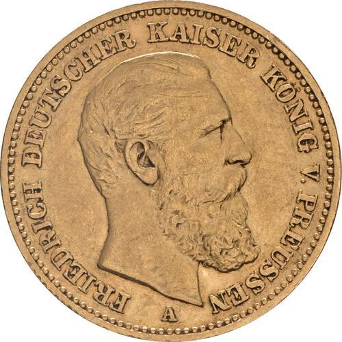 Vorderseite:Deutschland : 20 Mark Friedrich winz. Rs. 1888 ss/vz.