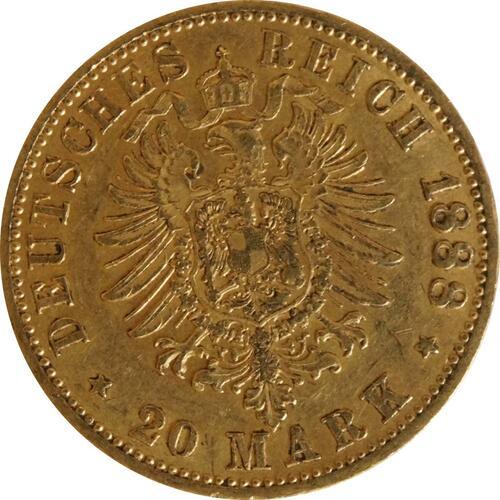 Rückseite:Deutschland : 20 Mark Friedrich  1888 ss/vz.