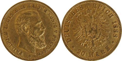 Lieferumfang:Deutschland : 20 Mark Friedrich  1888 ss/vz.