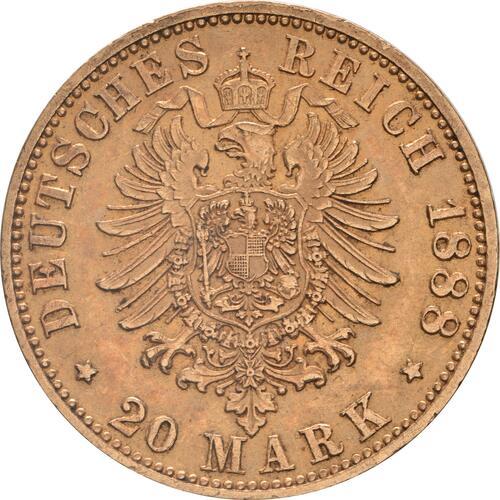 Rückseite:Deutschland : 20 Mark Friedrich winz. Kratzer 1888 vz.